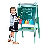 3 in 1 Kinder Staffelei Doppelseitiges für Kinder Whiteboard & Tafel Kindertafel mit Verstellbaren Ständer & Drehen 360 Grad & Bonus Magnetische Buchstaben und Zahlen