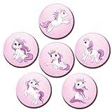Kühlschrankmagnete Pony Prinzessin Pink 6er Deko Geschenk Set Magnete Pferde Tiere lustig für Kinder stark groß 50mm rund Rosa