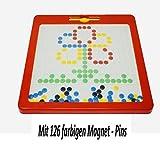 Große kunterbunte magnetische Zeichentafel (31,5 x 31,5 cm) mit 20 Mustervorlagen (Incl. Ministicker - Überraschung) Unterwegs | Magnettafel Kinder | Zaubertafel | Magnetspiel