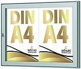 Schaukasten Keitum 2x DIN A4 | B 485 × H 360mm Querformat | wetterfest für innen und aussen | abschließbar | ESG-Sicherheitsglas | Brandschutz A1/A2 nach DIN EN 13501-1 | Alu silber