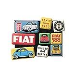 Nostalgic-Art Retro Kühlschrank-Magnete FIAT 500 – Loved Since 1957 – Geschenk-Idee für Auto-Fans, Magnetset für Magnettafel, Vintage-Design, 9 Stück