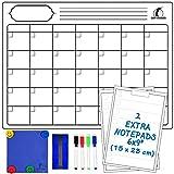 Whiteboard Monatskalender-Set - Magnetischer Monatsplaner 43 x 33 cm + 2 Trocken abwischbare Notepads + 1 Radierer, 1 Wischtuch, 4 Stifte und 4 Magnete - Kühlschrank-Kalender/-Organizer