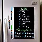 CUHIOY Magnetisches Chalkboard, Kühlschrank Magnettafel A3, Kühlschrank Notizblock, Plantafel zum Trockenlöschen für Memo, wöchentlicher Essensplaner,Einkaufsliste,To-Do-Liste,3 Kreidemarker 1Radierer