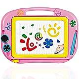 TTMOW Zaubertafel Kinder Maltafel mit Magnetische Stempel, Verdicktes Lerntafel Reißbrett Kindergeschenk für Kinder ab 2 ab 3 (Rosa)