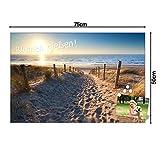 BANJADO Glas Magnettafel mit 4 Magneten | Magnetwand 75x50cm groß | Memoboard beschreibbar perfekt für die Küche | Magnetboard groß mit Motiv Nordseestrand