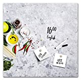 STYLER Memoboard Magnettafel Magnetpinnwand Magnetboard | Magnetwand zum Beschriften | Glas Küche Gewürze Grau | Format 30x30 o. 30x60 cm (Peppers, S (30 x 30 cm))