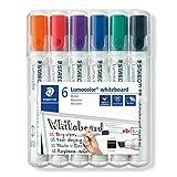 STAEDTLER Lumocolor 351 B WP6 Whiteboard-Marker (Keilspitze ca. 2 oder 5 mm Linienbreite, Set mit 6 Farben, hohe Qualität, trocken und rückstandsfrei abwischbar von Whiteboards)