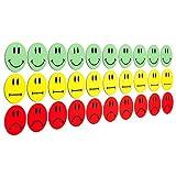 30 bunte Smileys Magnete (10 gruene lachende Smileys / 10 gelbe neutrale Smileys / 10 rote traurige Smileys) / Durchmesser 2,5cm / z.B. fuer Praesentationen, Schulungen, Projektarbeit, Unterricht.