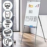 Flipchart - 60 x 90 cm, höhenverstellbar, inkl. Papierhalterung, mit Ständer, Weiß - Whiteboard, Magnettafel