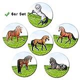 Kühlschrankmagnete Pferde 6er Geschenk Set Pferdemotiv Magnete lustig für Magnettafel Kinder stark groß Ø 50 mm