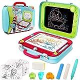 Kinder Zaubertafel Magnettafel 2-in-1 Doppelseitiges Gekritzel Zeichenkarton Tafel mit 3 Stempeln Reisespiel für Jungen Mädchen