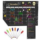 MoKo Magnetisch Kalender für Küche Kühlschrank, 16' x 12' Monat Planer Trocken Abwischbar Kalender Einkaufsliste mit 8 Boardmarker - Schwarz