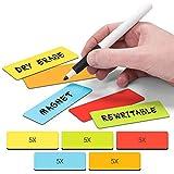 2DOBOARD Magnetstreifen beschreibbar - Wochenplaner, Organizer – Für Metallschränke, Kühlschränke, magnetische Oberflächen- Rot, Grün, Orange, Blau, Gelb - 7,5 cm x 2,5 cm - 25 Balken