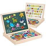Uping magnetisches Holzpuzzle Staffelei doppelseitige Tafel Holzbrett Doodle 90 Puzzel- und 40 Buchstaben-Teile für Kinder ab 3 Jahre Ozean