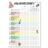 Haushaltsplan für Familie mit Aufgaben (DIN A4 Block) - WG Putzplan für den Haushalt - Aufgabenplaner für Familien mit Kindern - Todo Stundenplan - Wochenplaner als Organizer für Haushalt