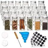 EZOWare 24er Set 120ml Gewürzgläser und Zubehör, Glas Gewürzdosen Gewürzbehälter mit Kappe, Trichter, Reinigungsbürste und Etiketten