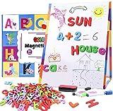 Tacobear Magnetische Buchstaben Zahlen für Kinder mit klappbar Whiteboard Magnettafel Kindertafeln Doppelseitig Staffelei Alphabet ABC Kühlschrankmagnete Lernspielzeug Geschenk für Vorschule Kinder