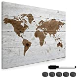Navaris Magnettafel Magnetpinnwand Memoboard zum Beschriften - 70 x 50cm Notiztafel div. Designs - Tafel abwaschbar mit Magneten Stift