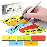 2DOBOARD Magnetstreifen beschreibbar - 7,5 cm x 2,5 cm Bunt - 25 Stück - Magnet etiketten Wochenplaner, Organizer – Für Whiteboard, Metallschränke und Kühlschränke