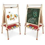 Arkmiido Kinder Tafel Holz,schultafel für Kinder,standtafel Staffelei Hölzern,Höhenverstellbar Schreibtafel ,Magnettafel Spieltafel für Kinder, Kinder