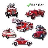 GUMA Magneticum Kühlschrankmagnete Feuerwehr Auto 6er Geschenk Set Magnete Feuerwehrauto Nostalgie stark für Kühlschrank Magnettafel Männer Frauen Kinder Rot Bunt