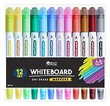 Whiteboard-Marker von SmartPanda – Doppelspitze, Medium und Fein – Trocken abwischbar, perfekt für Zuhause, Schule oder Büro – 12er Set verschiedene Farben (12)