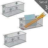 Aufbewahrungskorb aus magnetischem Metallgeflecht, Bürobedarf-Halter, Organizerkörbe, Silber, 3 Stück