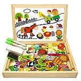 COOLJOY Magnetisches Holzpuzzle mit Doppelseitiger Tafel, Holzspielzeug Puzzles Kinder 3 Jahre, Pädagogische Lernspiel 100 Bunten Teile, Kreativ Geschenk für Kinder (Farmmuster)