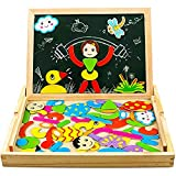 YIXIN Magnetisches Holzpuzzle Lernspielzeug für Kinder Jungen Mädchen Doppelseitige Hölzerne Magnettafel für Kinder 3 4 5 Jahre