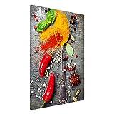 Bilderwelten Magnettafel - Löffel mit Gewürzen - Memoboard Hochformat 3:2, Wandbild Magnettafel Pinnwand Magnetboard Magnetpinnwand Magnetwand Stahl Küche Büro, Größe HxB: 90cm x 60cm