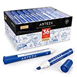 Arteza Whiteboard Marker, Set mit 36 Whiteboard Stiften in Blau, trocken abwischbar von Magnettafeln, Boardmarker mit Keilspitze für Zuhause, Büro oder Schule