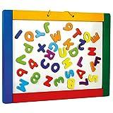 Bino & Mertens 83651 - Magnetische Hängetafel mit bunten Buchstaben und Hängeschlaufe . Die Magnetische Seite ist mit Marker beschrift- und leicht trocken abwischbar. Größe ca. 42x1,5x30 cm.