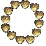 LeBigMag | 12 sehr starke Neodym Gold Magnetherzen | Ø 10 mm 3 mm hoch | vergoldete sehr solide Magnete in Herzform aus extrastarkem NdFeB | für Pinnwand Kühlschrank Magnettafel