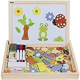 Anpro Magnetisches Holzpuzzle mit Doppelseitiger Tafel, 110 Stück pädagogisches Holzspielzeug Lernspielzeug Staffelei Doodle für Kinder ab 3 Jahre alt, EINWEG