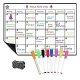 Abwischbare Tafel für Kühlschrankkalender A3 Menütafel Kühlschrank Stilvolle schwarze Kreidetafel Monatsplaner für Küche, Büro und alle Ihre Kinder Aktivitäten (weiß)