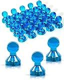 JOAM ® Neodym Magnete – extra hohe Funktion dank einfacher u schneller Befestigung von Notizen beispielsweise an einer Magnettafel - Zubehör für Büro, Haushalt u Schule – transparente Magnete blau