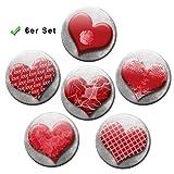 Kühlschrankmagnete Vintage Herzen 6er Geschenk Set Romantische Magnete für Magnettafel stark groß Ø 50 mm Rot
