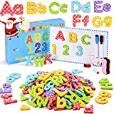 Yetech 140PCS Magnetbuchstaben und Zahlen mit Magnetplatte, Stiften, Radiergummi und Aufbewahrungstasche Dicker Schaum Kühlschrankmagnete für Kleinkinder im Vorschulalter Lernen