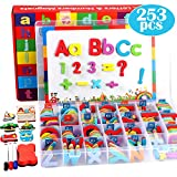 Lewo 253 Stück Magnetic Letters Puzzle mit Magnettafel und Aufbewahrungsbox Schaum Alphabet ABC Kühlschrankmagnete Lernspielzeug für Kinder Kleinkinder